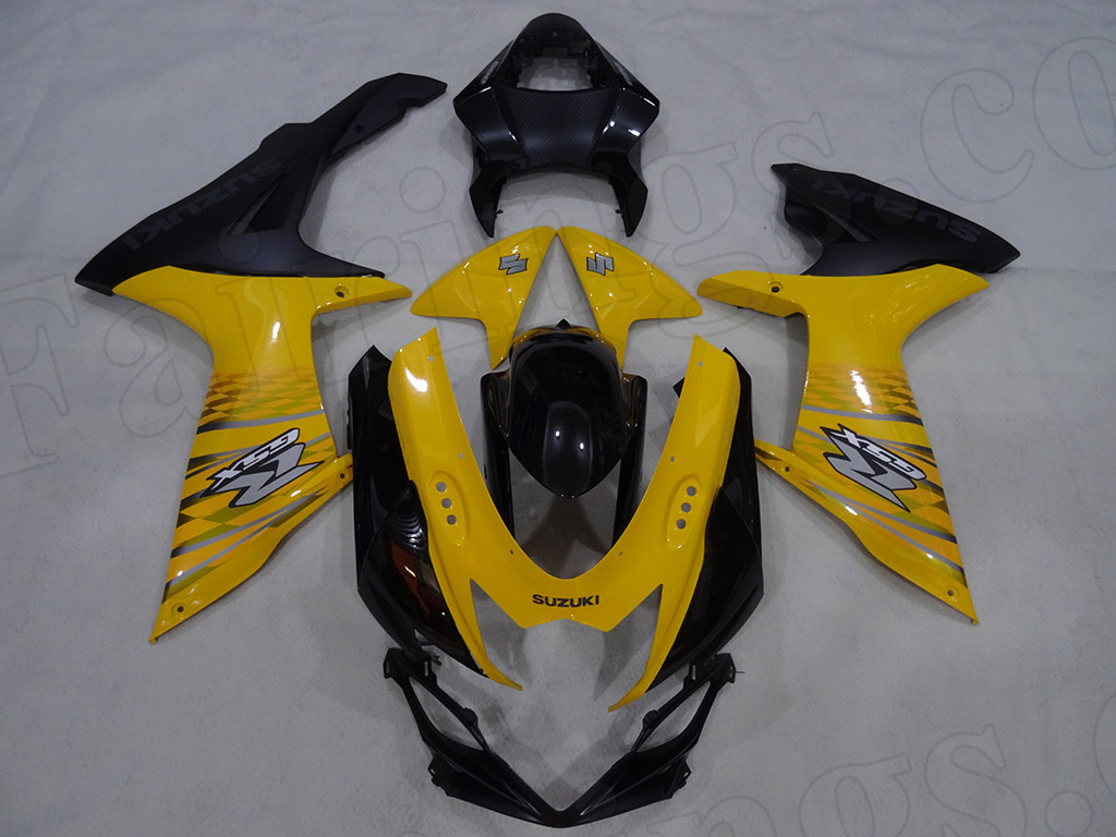 Motorcycle fairings for 2011 to 2014 Suzuki GSXR600/750 yellow/black scheme.
