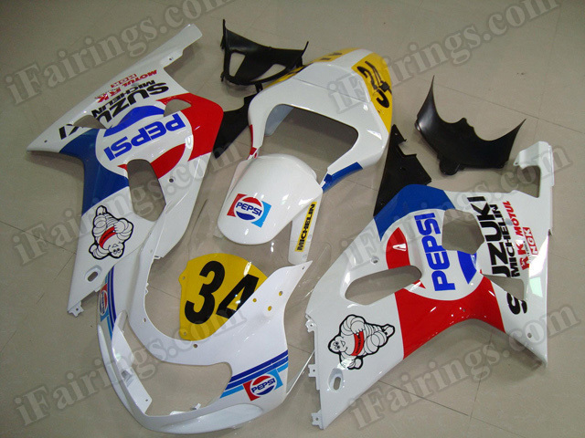 Motorcycle fairings/bodywork for 2001 2002 2003 Suzuki GSX R 600/750 PEPSI decals.