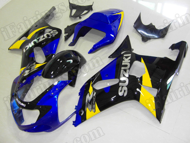 Motorcycle fairings/bodywork for 2001 2002 2003 Suzuki GSX R 600/750 blue, black and yellow.