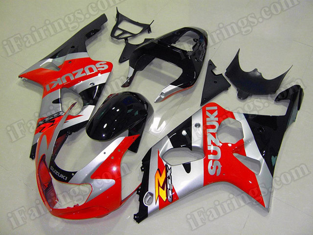 Motorcycle fairings/bodywork for 2001 2002 2003 Suzuki GSX R 600/750 red, silver and black.