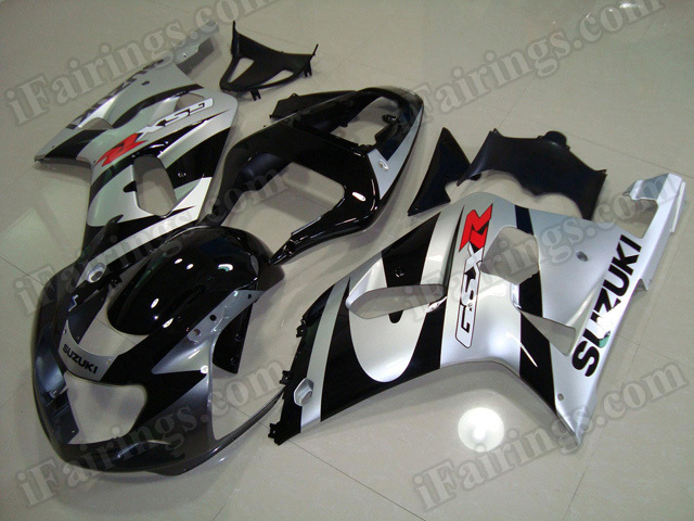 Motorcycle fairings/bodywork for 2001 2002 2003 Suzuki GSX R 600/750 black and silver.