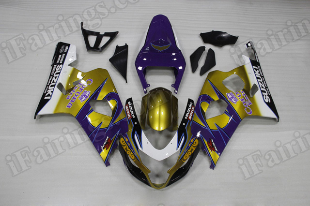 Motorcycle fairings/bodywork for 2004 2005 Suzuki GSX R 600/750 gold and blue corona..