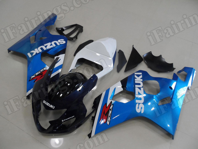 Motorcycle fairings/bodywork for 2004 2005 Suzuki GSX R 600/750 dark blue and light blue.