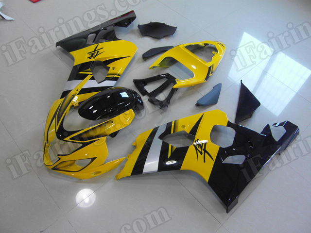 Motorcycle fairings/bodywork for 2004 2005 Suzuki GSX R 600/750 yellow and black.