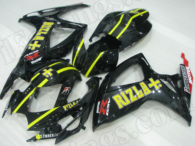 Motorcycle fairings/body kits for 2006 2007 Suzuki GSX R 600/750 black with yellow stripes.