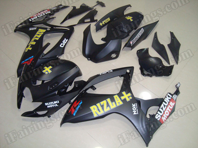 Motorcycle fairings/body kits for 2006 2007 Suzuki GSX R 600/750 matte black Rizla replica.
