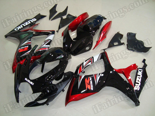 Motorcycle fairings/body kits for 2006 2007 Suzuki GSX R 600/750 black, red and white.
