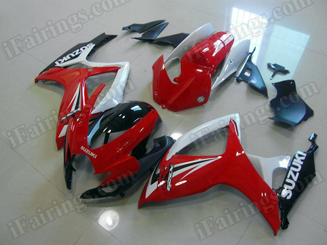 Motorcycle fairings/body kits for 2006 2007 Suzuki GSX R 600/750 red, white and black.