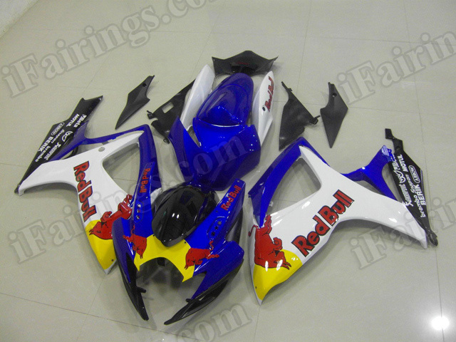 Motorcycle fairings/body kits for 2006 2007 Suzuki GSX R 600/750 blue and white with RedBull stickers.