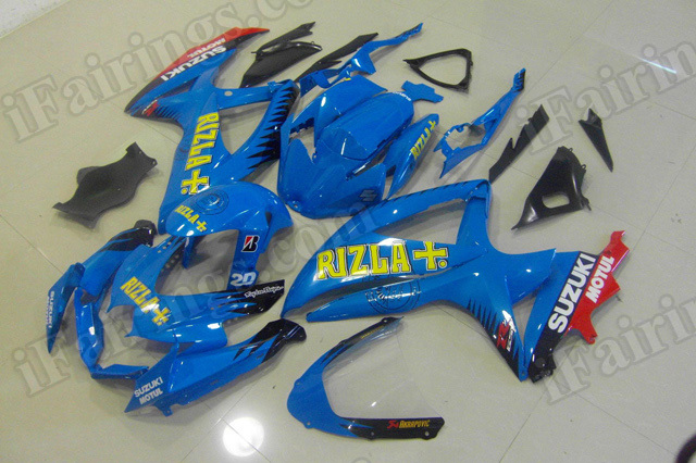 Motorcycle fairings for 2008 2009 2010 Suzuki GSX R 600/750 blue Rizla graphic.