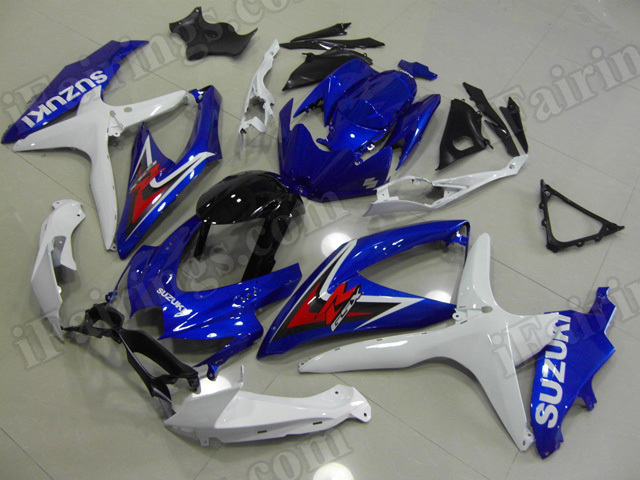 Motorcycle fairings for 2008 2009 2010 Suzuki GSX R 600/750 blue, white and black.