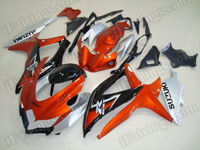 Motorcycle fairings for 2008 2009 2010 Suzuki GSX R 600/750 orange, silver and black.
