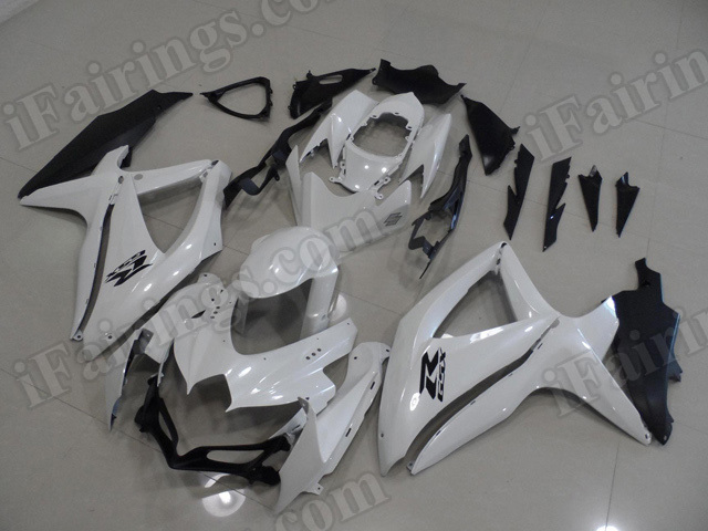 Motorcycle fairings for 2008 2009 2010 Suzuki GSX R 600/750 pearl white and matte black.