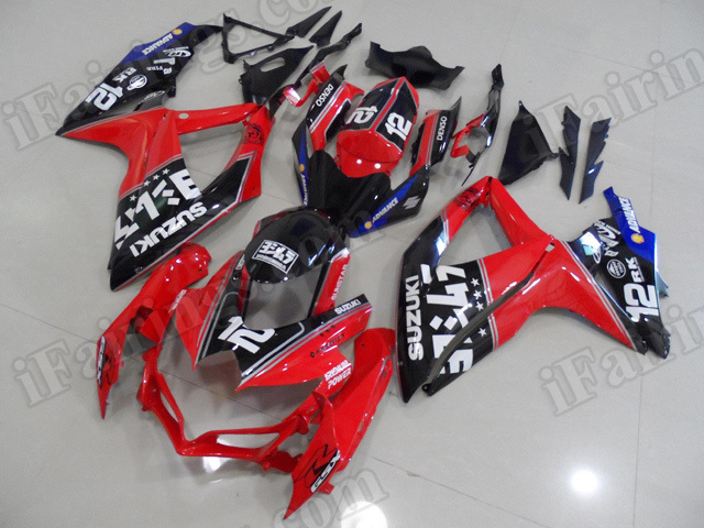 Motorcycle fairings for 2008 2009 2010 Suzuki GSX R 600/750 red and black.
