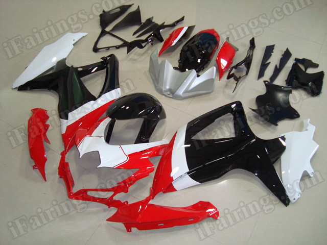 Motorcycle fairings for 2008 2009 2010 Suzuki GSX R 600/750 tricolore red,white and black.
