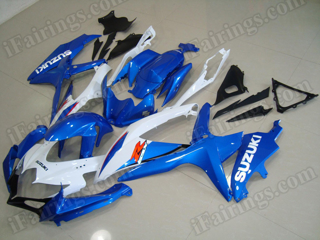 Motorcycle fairings for 2008 2009 2010 Suzuki GSX R 600/750 blue and white.