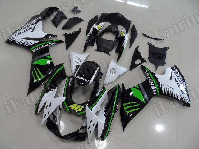 Motorcycle fairings for 2011 2012 2013 2014 Suzuki GSX R 600/750 white, black with green stripes.