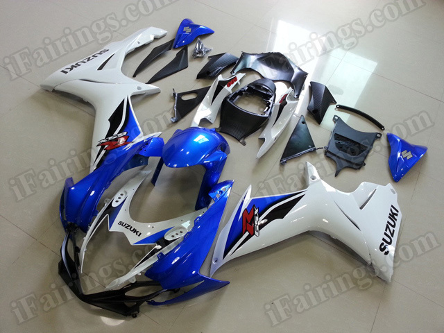 Motorcycle fairings for 2011 2012 2013 2014 Suzuki GSX R 600/750 blue and white.