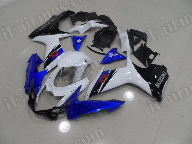 Motorcycle fairings for 2011 2012 2013 2014 Suzuki GSX R 600/750 blue and white and black.