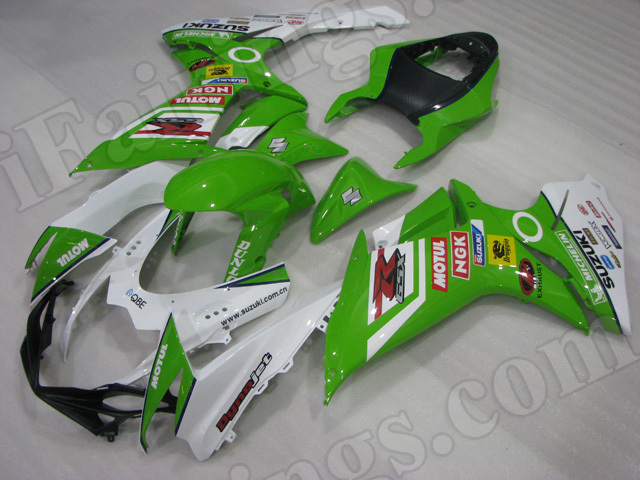 Motorcycle fairings for 2011 2012 2013 2014 Suzuki GSX R 600/750 green and white.