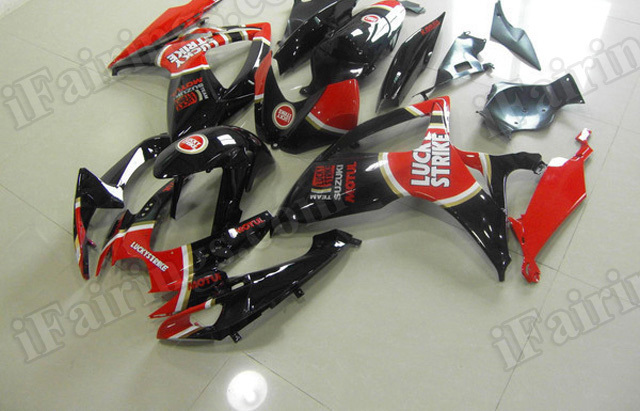 Motorcycle fairings for 2011 2012 2013 2014 Suzuki GSX R 600/750 black lucky strike replica.