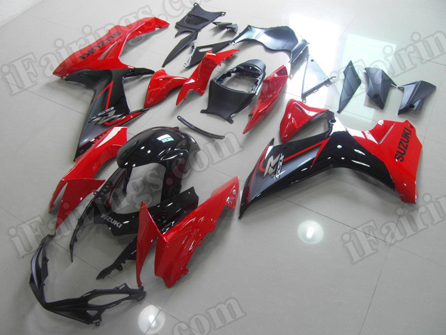 Motorcycle fairings for 2011 2012 2013 2014 Suzuki GSX R 600/750 red and black.