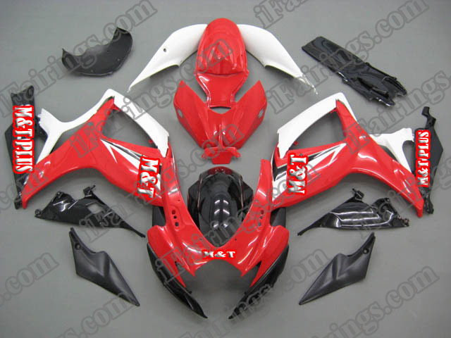 2006 2007 GSXR600/750 red and white replacement fairing kits