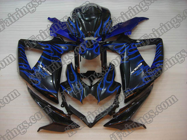 GSXR600/750 2008 2009 2010 blue flame fairings, 2008 2009 GSXR600/750 graphics.