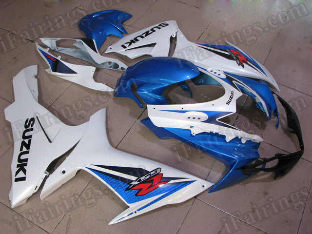 Motorcycle fairings for 2011 2012 2013 2014 Suzuki GSXR600/750 blue and white.