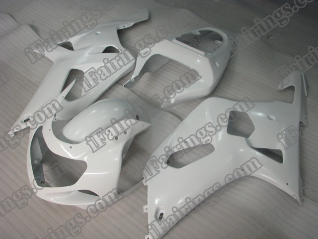 Replacement fairings for 2001 2002 2003 GSXR600/750 white scheme.