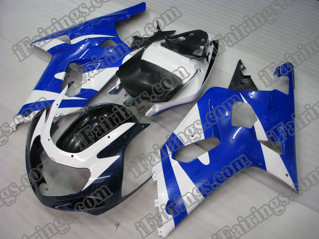Replacement fairings for 2001 2002 2003 GSXR600/750 white/blue/black.